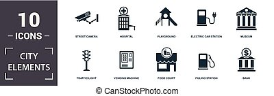 City Elements icon set. Contain filled flat vending machine, bicycle parking, filling station, playground, museum, leisure park icons. Editable format