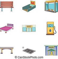 City elements icons set, cartoon style