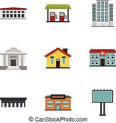 City elements icons set, flat style