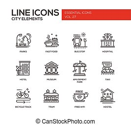 City elements - line design icons set - Set of modern vector...