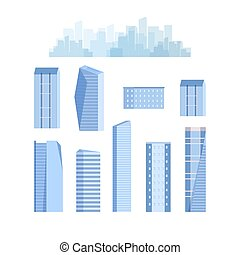 City elements with skyscrapers, urban buildings. Vector. Isolated.
