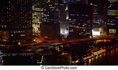 City embankment at night.