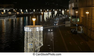 City embankment, festive New Year's lights. View from above....