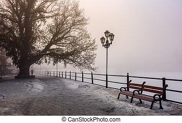 city embankment in foggy winter morning. beautiful european...