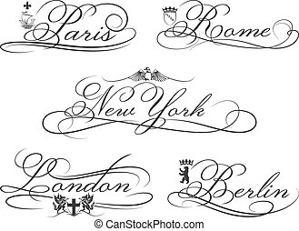 City emblems with calligraphic elements. Cities Lettering