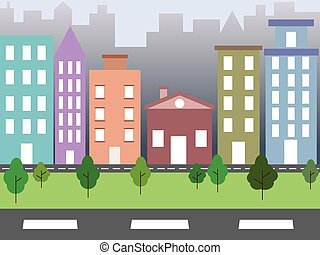 City environment - Illustration of city environment with...
