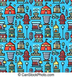 City environtment vector seamless pattern