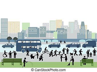 City-.eps - people walking on the street