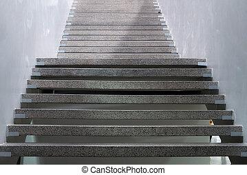 city., escaliers., résumé, ston, granit, steps., escalier