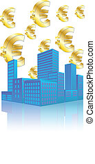 city euro - illustration of urban skyscraper with euro...