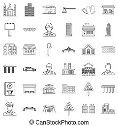 City executive icons set, outline style