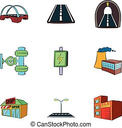 City facilities icons set, cartoon style