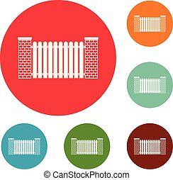 City fence icons circle set vector