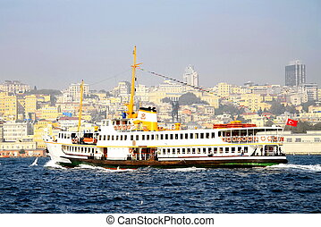 City ferry boat - Istanbul city ferry boat in fall