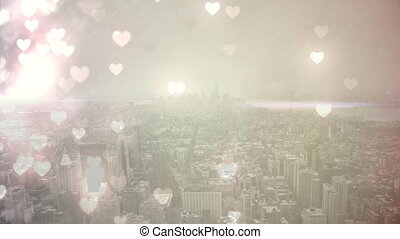 City filled with flying hearts