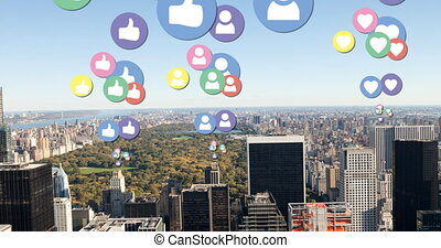 City filled with flying social media icons 4k