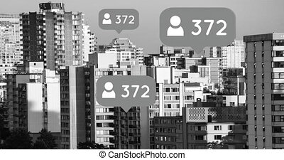City filled with follower icons 4k