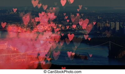 City filled with hearts