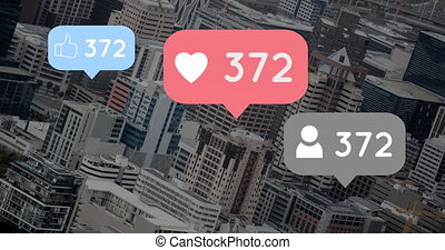 City filled with increasing likes and hearts 4k
