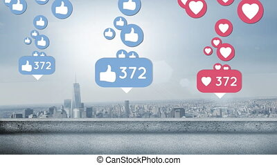 City filled with likes and hearts