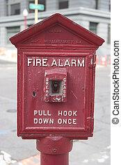 A public sidewalk fire alarm that looks like it's seen some use.