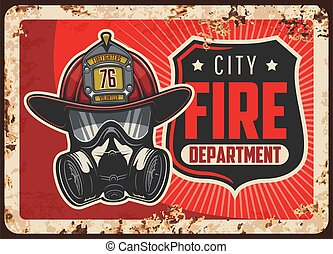 City fire department rusty metal plate. Firefighters helmet or leatherhead with badge, self-contained breathing apparatus or gas mask vector. Emergency situations rescue service retro banner