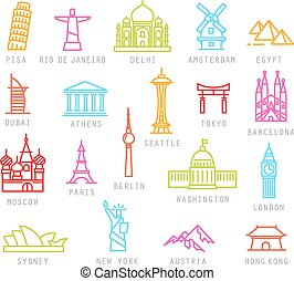 City flat color icons - City icons in color flat style with...