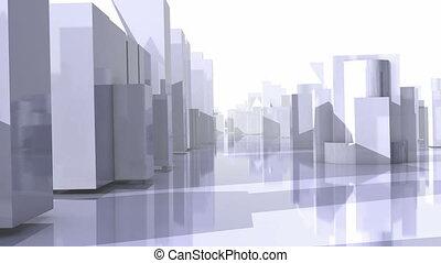 City Flight. Loop. CG .HD. - Flight through abstract city,...