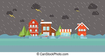 city flood flooding water in street building store house -...