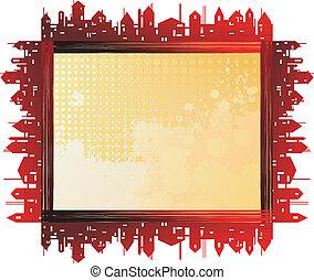 City - frame - City theme creative vector frames