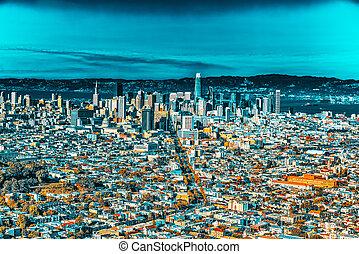 city., francisco, vista, san, panorámico