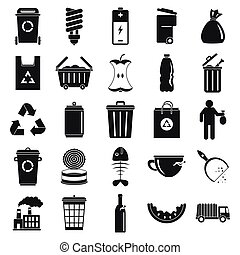 City garbage icons set, simple style