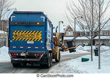City Garbage Recycle Truck Working - City Garbage and...