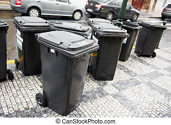 city garbage trash cans containers