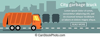City garbage truck banner horizontal concept