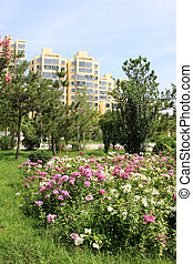 City Garden and distant landscape architecture, china