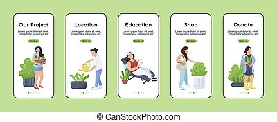 City gardening project onboarding mobile app screen flat vector template. Town greening. Walkthrough website steps with characters. UX, UI, GUI smartphone cartoon interface, case prints set