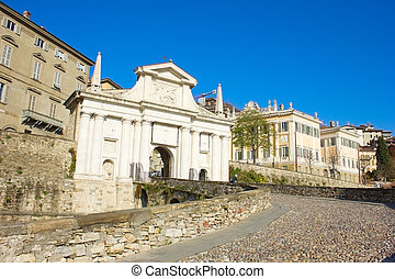 city gate, Bergamo, Italy - road to city gate Porta San ...