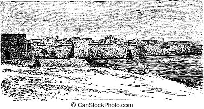 City Gate of Tyre, in Lebanon, vintage engraving - City Gate...