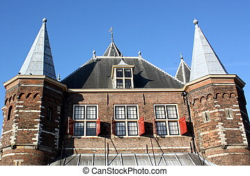"""City gate - Old city gate """"De Waag""""' from 1488 in Amsterdam..."""