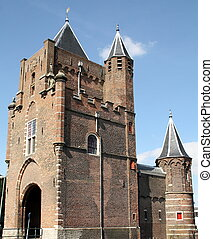 City gate - Old city gate The Amsterdamse Poort in Haarlem. ...