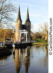 """City gate """"Oostpoort"""" from the 14th century in the city of ..."""