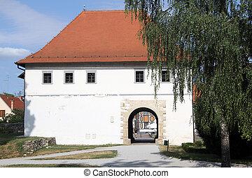 City gate - White city gate of old Varazhdin, Croatia