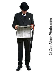 City Gent reading newspaper - Businessman in bowler hat and...