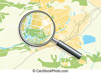 City Geo Map and Zoom Lens. Color bright decorative background vector illustration EPS-10.