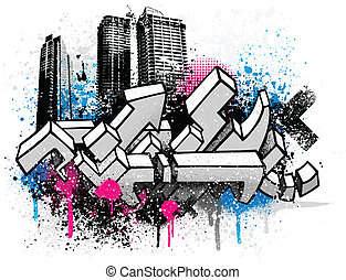 City graffiti background - Graffiti city sketch with blue...