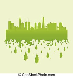 city green illustration with water drop