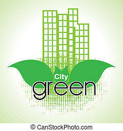 city green over green background vector illustration