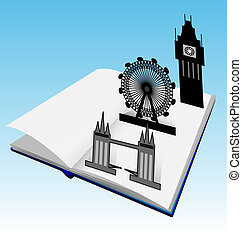 City guide. Book with London buildi