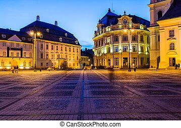 City hall and Brukenthal palace in Sibiu